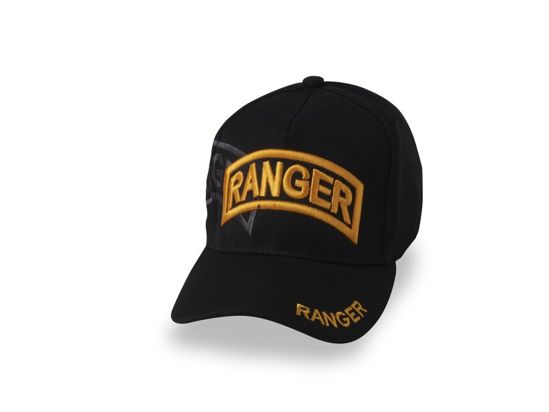 US ARMY RANGER BLACK CAP GOLD LETTERING