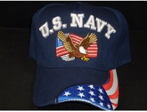 US NAVY EAGLE AMERICAN FLAG ON BILL CAP