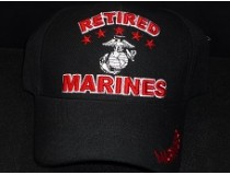 US MARINE RETIRED BLACK RED CAP