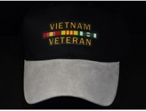 CUSTOM GREY SUEDE-BLACK VIETNAM WAR RIBBON CAP