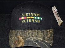 CUSTOM MOSSY OAK* BLACK-CAMO * VIETNAM WAR RIBBON CAP
