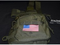 OD GREEN SLING BAB WITH GUN HOLSTER AMERICAN FLAG