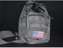 GREY  SLING BAG WITH GUN HOLSTER AMERICAN FLAG