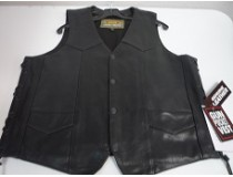 LEATHER REAL COWHIDE GUN POCKET VEST WITH LACE  4X-5X