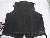 LEATHER REAL COWHIDE GUN POCKET VEST WITH LACE    2X-3X