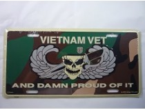 VIETNAM VET DAMN PROUD OF IT CAR TAG  *US MADE*