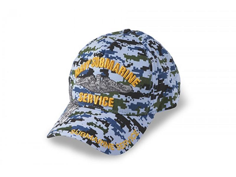US NAVY SUBMARINE CAMOUFLAGE BLUE DIGITAL CAP