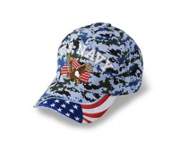 US NAVY EAGLE AMERICAN FLAG ON BILL BLUE DIGITAL CAP