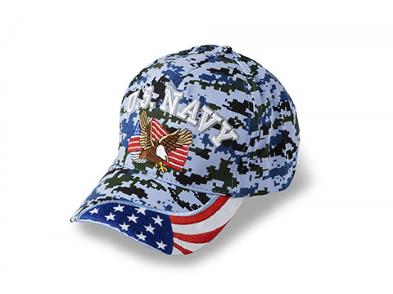US NAVY EAGLE AMERICAN FLAG ON BILL BLUE DIGITAL CAP