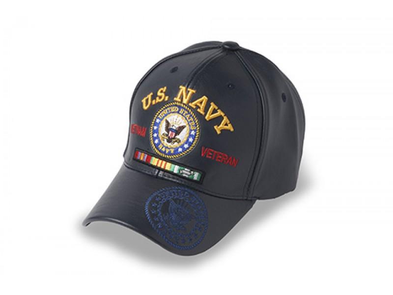US NAVY LEATHER VIETNAM CAP BLUE
