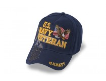 US NAVY  VETERAN GOLD LETTERS EAGLE FLAG ON FRONT CAP