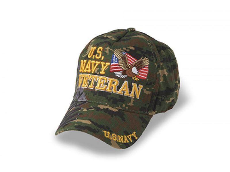 US NAVY VETERAN WHITE OD GREEN DIGITAL VETERAN CAP