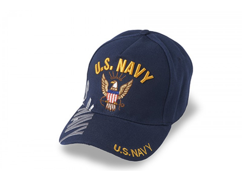 US NAVY EAGLE ON FRONT VETERAN DOWN SIDE SILVER THREAD