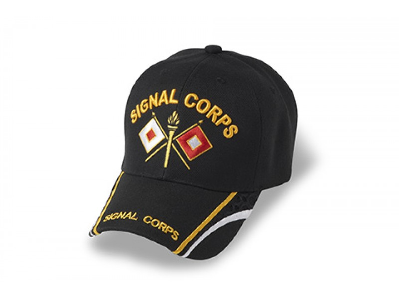 ARMY SIGNAL CORPS BLACK WHITE GOLD TRIM ON BILL