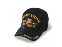 DESERT STORM VETERAN CAP  BLACK WITH RIBBONS