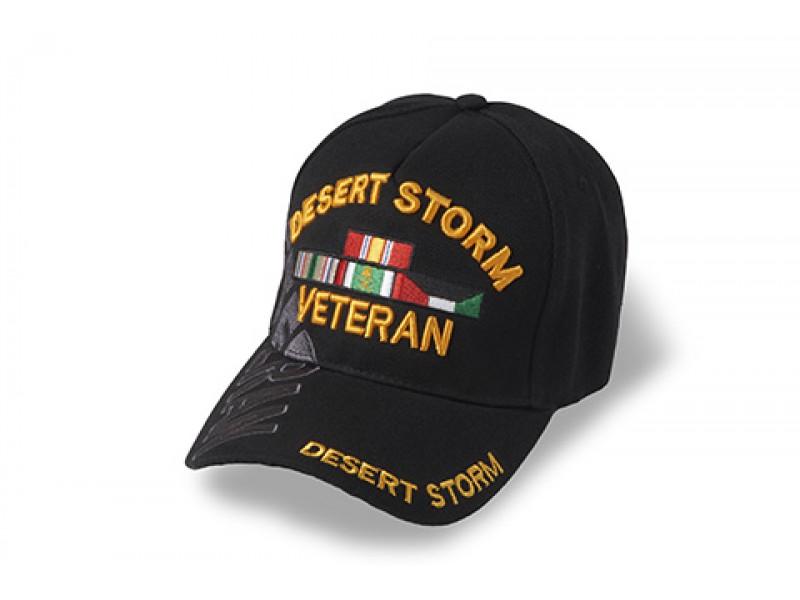 DESERT STORM VETERAN CAP  BLACK WITH RIBBONS