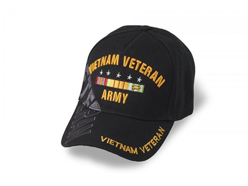 ARMY VIETNAM VETERAN RIBBON CAP * VETERAN DOWN SIDE SILVER THREAD