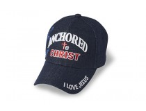 ANCHORD IN CHRIST DENIM JESUS CAP