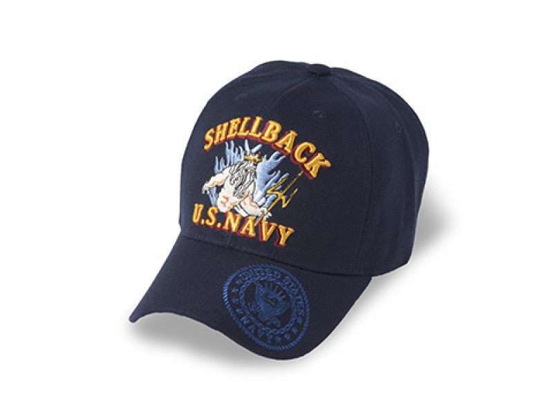 NAVY SHELLBACK KING NEPTUM VETERAN CAP*BEST SELLER* SOLID NAVY BLUE CAP