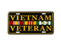 VIETNAM VETERAN WITH SERVICE RIBBONS LICENSE PLATE