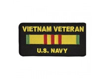 US NAVY VIETNAM SERVICE RIBBON PATCH GOLD TEXT