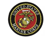 "3"" MARINE CORPS GLOBE ANCHOR PATCH BLACK BORDER"