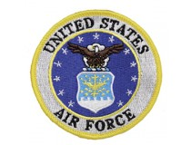 "US  AIRFORCE 3"" LOGO PATCH GOLD BORDER"