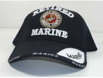 Retired Marine Military Cap- BlackWhite
