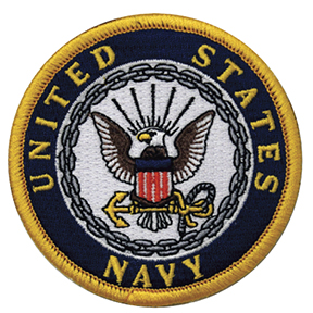 "3"" US NAVY PATCH GOLD BORDER"